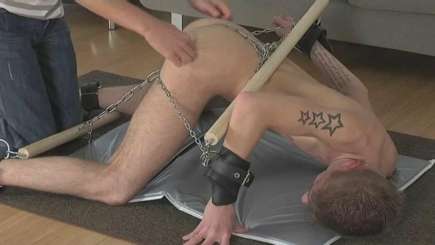 Tattooed lap gay gets every time part of his body chained