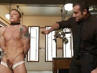 Tattooed muscled blithe stud gets headed plus whipped