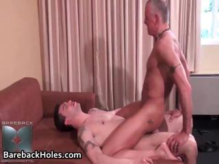 Horny gay bareback bonking with the addition of bushwa part1