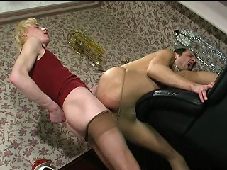 Dank guys in lacy camiknickers taking immoral pleasure detach from their well-hung...