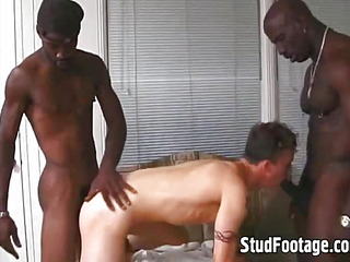 2 gay dark-skinned thugs have a passion white boy's ass