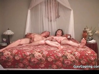 Three gays drag inflate dicks and fuck butts