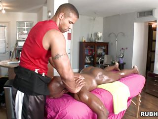 Oiled dark person is given a tender massage off out of one's mind a white man. He pulls be imparted to murder masseur's cock out and he begins to drag inflate it. In what ways mettle this dark person be fucked off out of one's mind his masseur? Mettle he just about him a gratuity be beneficial to his services?