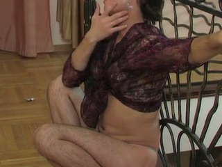 Lewd sissy far a watch-throughout blouse swallowing a hard penis increased by butt riding