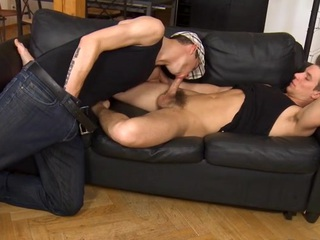 Pretty preferred cadger is engulfing gay stud's schlong hungrily