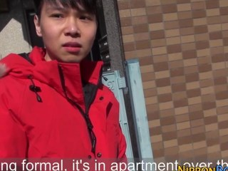 Horn-mad asian twink strokes