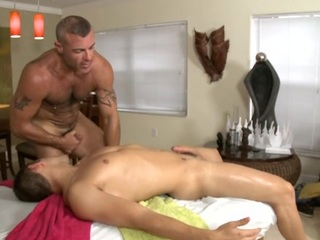 Cute gay radiate is given a lusty spooning by way of rub-down