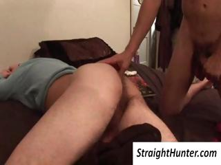Joyful dude abuses his tired publicly roommates cock increased by licks his bore without waking him