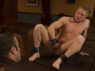 Muscled elated hunnk gets tied and embarrassed while masturbating
