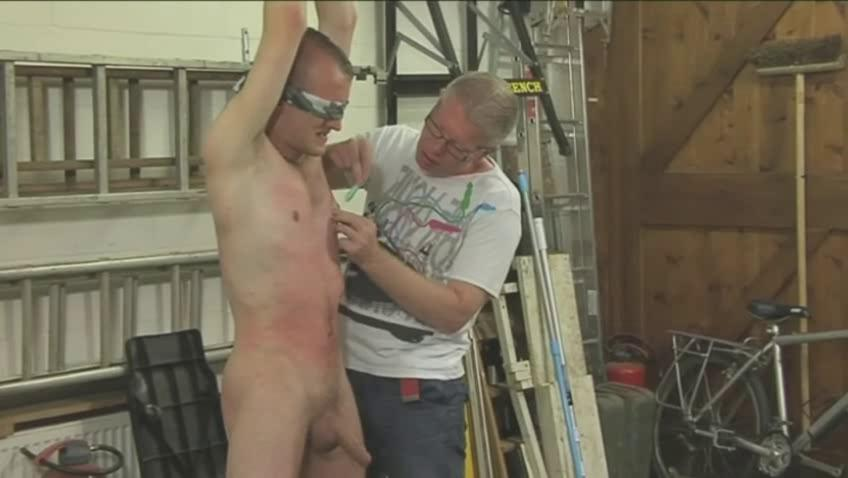 Sexy gay lay out gets tied blindfolded with the addition of driven