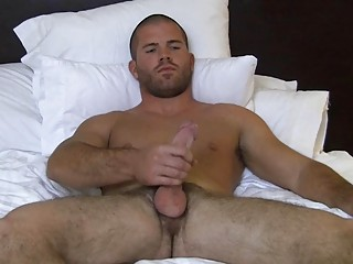 Muscled revealed joyful hunk wanks his heavy hard cock not susceptible purfling limits