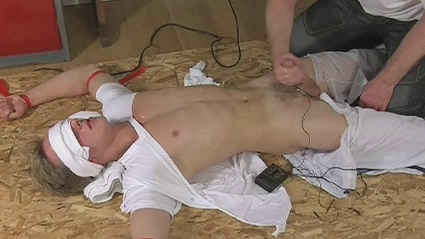 Blindfolded with the addition of doomed guy gets his cock stroked