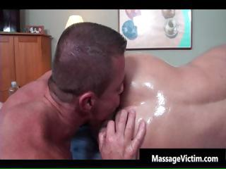 Super hot bodied scrounger gets oiled for gay