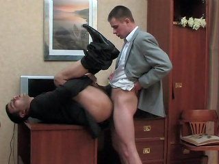 Kinky co-worker coupled with his joyful boss having cock-break after firm working...