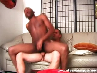Black exasperation sits on waxen cock with an increment of well supplied presence hot