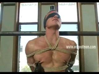 Dutiful gay beggar has his nipples clamped to the fullest he is blindfolded and teased