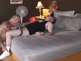 Horny big pig daddy served by hot muscled joyful hunk
