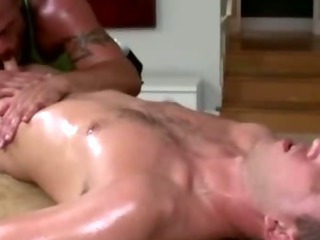 Mature gay masseur sucks fit genuine guy's randy load of shit