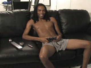 Hot black well-pleased with massive boner solo spastic fun on couch