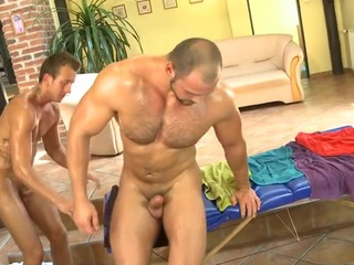 Bushy lady's man gets a lusty anal spooning from masseur