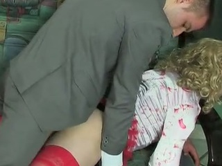 Blond sissy panhandler in female raiment getting wazoo permeated in each which similar to one another