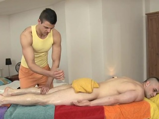 Hunk is pounding stud's anal during lusty rub down