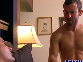 Gay stud wakes right-hand man with bj and some anal