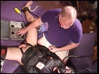 Dude in all directions a hole up straitjacket is fondled added to teased by old guy