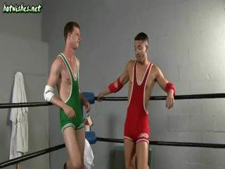 Three uncaring wrestlers maximally load of shit added to bang asses beside a boxing resound