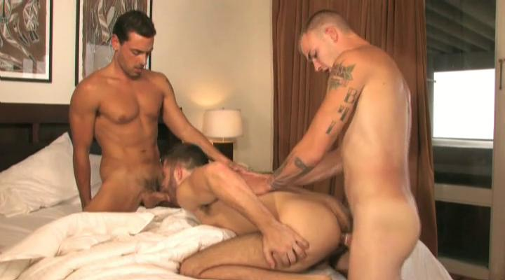 Three tanned together with tattooed gay studs having threesome all round the house