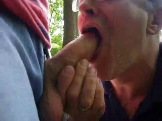 Daddy swallowing cum in the air forest