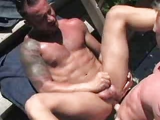 Muscle daddies having sex after a long time sunbathing