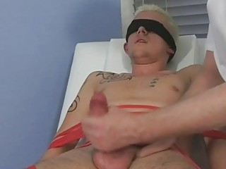 Predestined and blindfolded blonde twink gets his cock sucked by mature elated old man