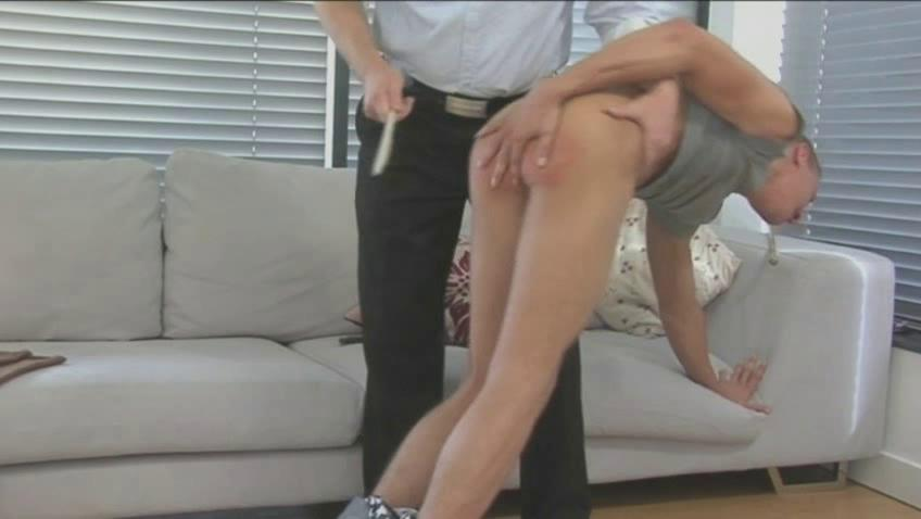 Hunky cheerful coxcomb gets spanked and whipped good