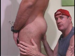 Dude in red hat sucks his cock plus then licks his botheration in gay duo