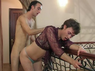 Lewd sissy in a see-through blouse swallowing a hard load of shit and ass...