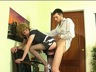 Upskirt gay milksop helter-skelter puristic nylons giving hophead with an increment of getting banged from...