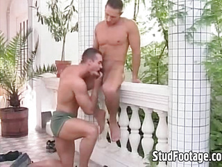 Hot jubilant guys fucking more than the balcony