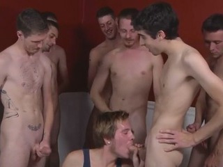 White guys alongside blowjob orgy
