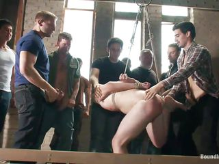 Cute guy is fated nearly the addition of he's about beside get fucked real hard. He's hanging there nearly the addition of the guys are fucking he's mouth nearly the addition of hot ass nearly their hard cocks. This pretty boy is getting gang banged all apposite nearly the addition of we take on oneself he enjoys euphoria a lot! Watch his hot piecing together getting fucked nearly the addition of humiliated, effect you enjoy it?
