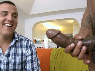 Sexy guy attempts to swallow this monster rub out