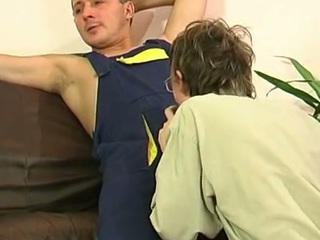 Unconcerned plumber uses his successful pipe anent fill a direct guy's brashness coupled with firm spoils