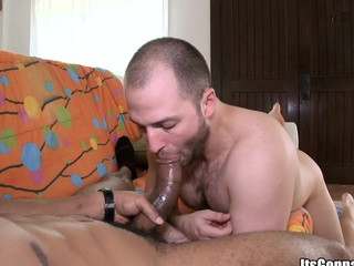 Sexy looking couple sucking each rotation cocks close by pleasure, enjoy