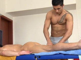 Sexy slab gets his constricted anal canal explored off out of one's mind masseur