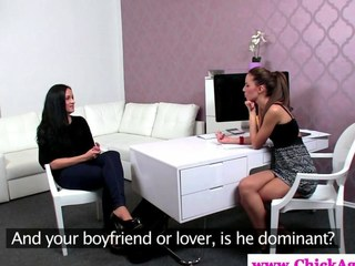 Lezdom cause watches the brush teen client masturbate