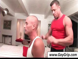 Bug masseur sets involving his table and helps his literal gay client strip