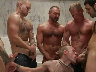 Handsome tattoed gay shut off got bondaged and troop banged