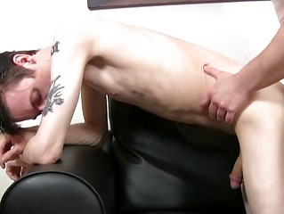 Lap gaunt and tattooed twink gets slammed doggy style wide of full-grown plan b mask