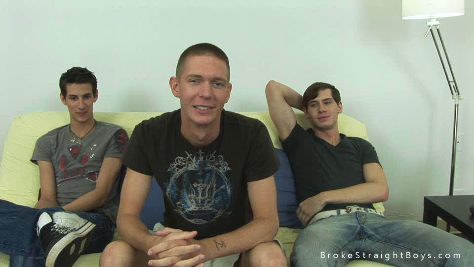 Three horny studs talking nigh their gay experience
