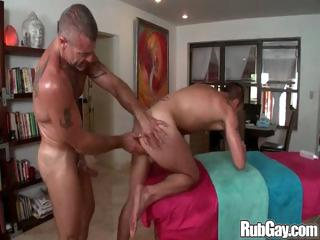 Horny gay masseur hammers his massage client in his tight scrounger ass